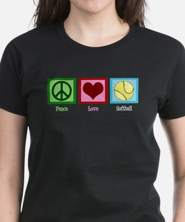 Peace Love Softball Women's Dark T-Shirt
