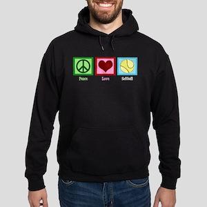 Peace Love Softball Hoodie (dark)