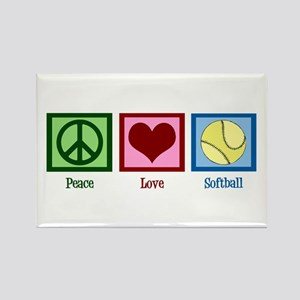 Peace Love Softball Rectangle Magnet