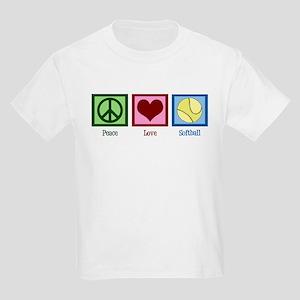 Peace Love Softball Kids Light T-Shirt