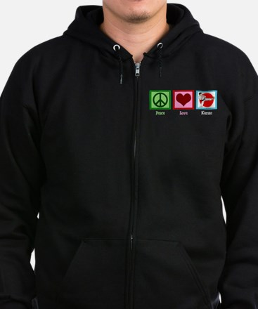 Peace Love Karate Zip Hoodie (dark)