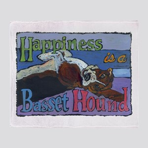 Happiness is a Basset Hound Throw Blanket
