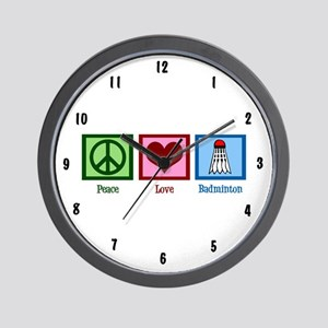 Peace Love Badminton Wall Clock