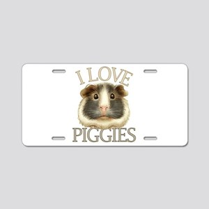 I Love Piggies Aluminum License Plate