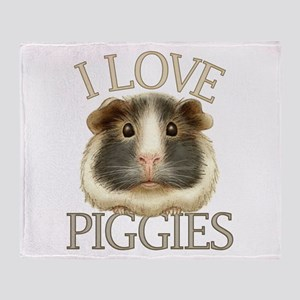 I Love Piggies Throw Blanket