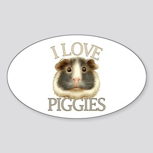 I Love Piggies Sticker (Oval)