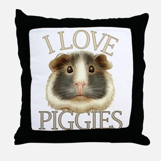 I Love Piggies Throw Pillow