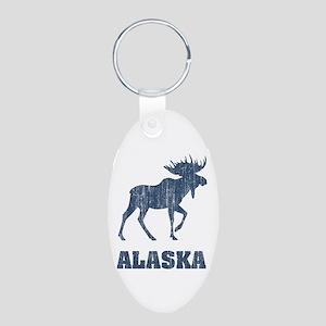 Retro Alaska Moose Aluminum Oval Keychain