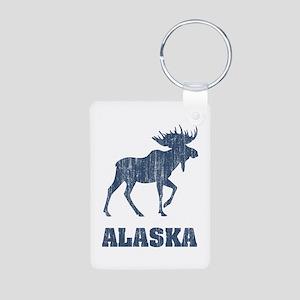 Retro Alaska Moose Aluminum Photo Keychain