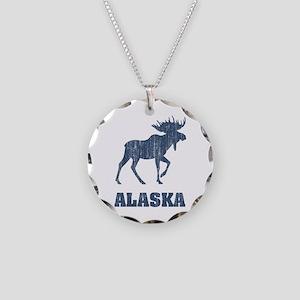 Retro Alaska Moose Necklace Circle Charm