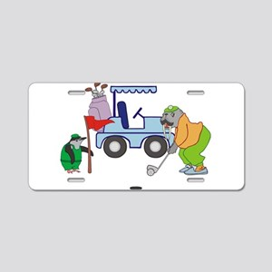 Playing Golf Aluminum License Plate