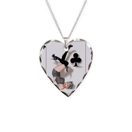 Queen of Clubs Pin-up Necklace Heart Charm