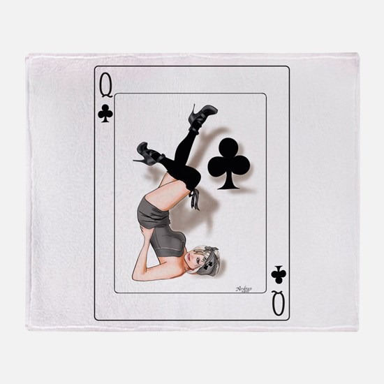 Queen of Clubs Pin-up Throw Blanket