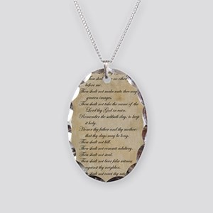 10 Commandments Necklace Oval Charm