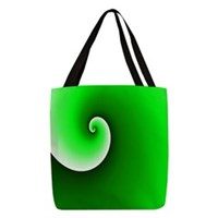 Green White Spiral Gradient Polyester Tote Bag