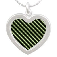 Green Lime Forest Stripes Silver Heart Necklace