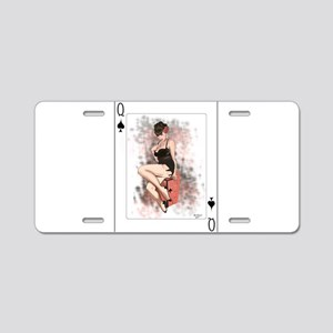 Queen of Spades Pin-Up Aluminum License Plate