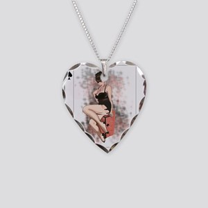 Queen of Spades Pin-Up Necklace Heart Charm
