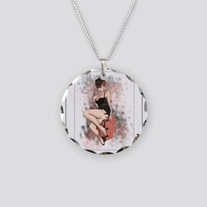 Queen of Spades Pin-Up Necklace Circle Charm