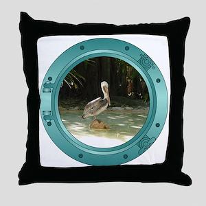 Pelican Porthole Throw Pillow
