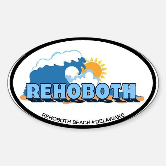 Rehoboth Bech DE - Waves Design Sticker (Oval)