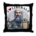 Osama luvs Liberals Throw Pillow