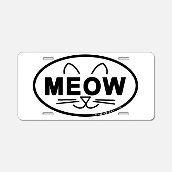 Meow Oval Aluminum License Plate