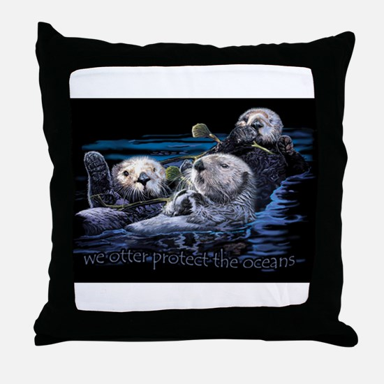 Funny Sea otter Throw Pillow