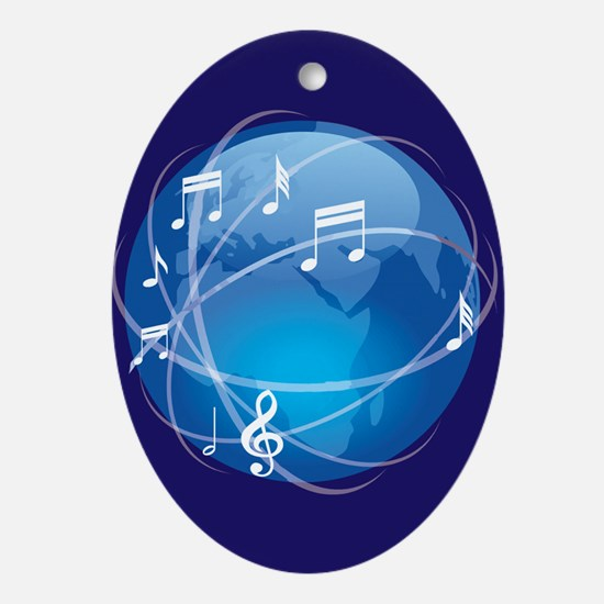 Mixed Musical Notes (world) Ornament (Oval)