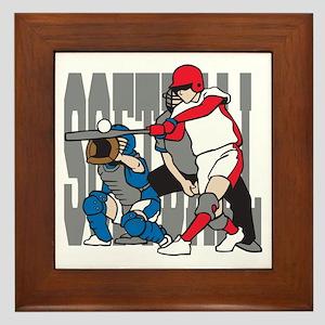 Softball Action Framed Tile