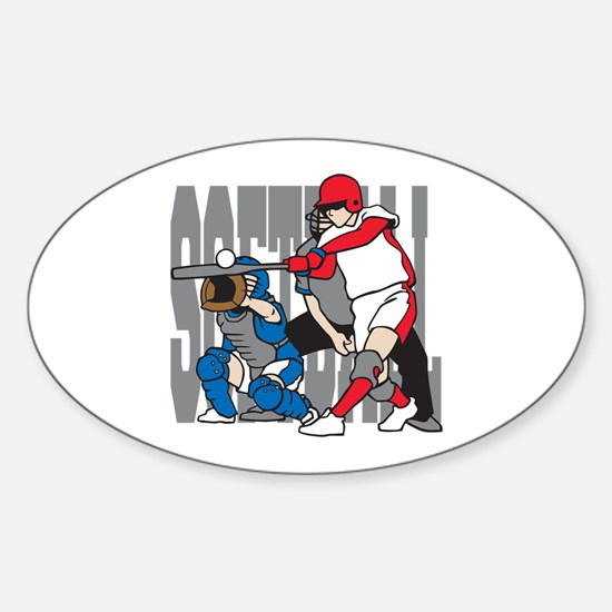 Softball Action Sticker (Oval)