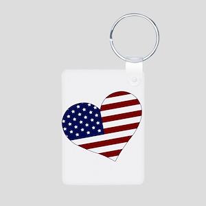 American Heart Aluminum Photo Keychain