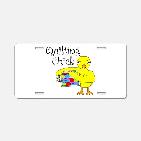 Quilting Chick Text Aluminum License Plate