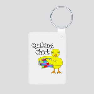 Quilting Chick Text Aluminum Photo Keychain