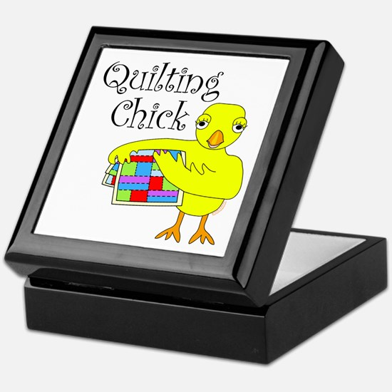 Quilting Chick Text Keepsake Box