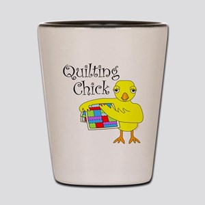 Quilting Chick Text Shot Glass