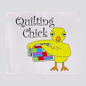 Quilting Chick Text Throw Blanket