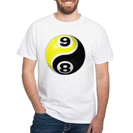 8 Ball 9 Ball Yin Yang White T-Shirt