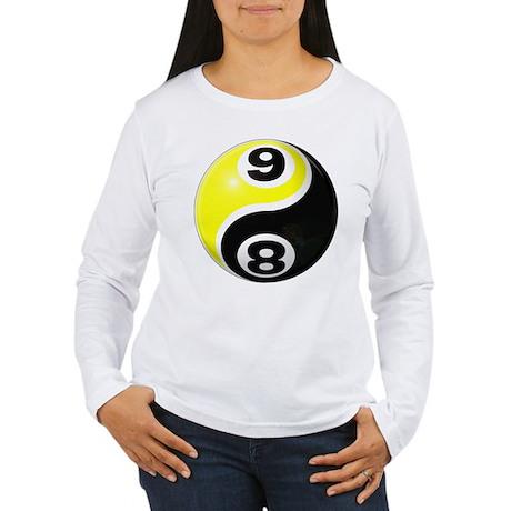 8 Ball 9 Ball Yin Yang Women's Long Sleeve T-Shirt