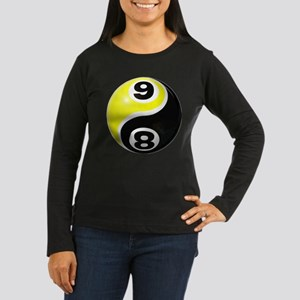 8 Ball 9 Ball Yin Yang Women's Long Sleeve Dark T-