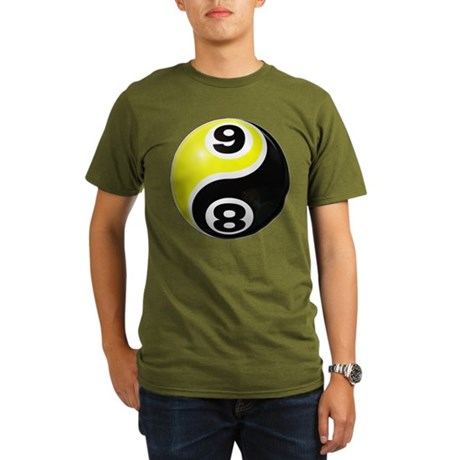8 Ball 9 Ball Yin Yang Organic Men's T-Shirt (dark