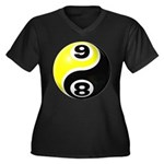 8 Ball 9 Ball Yin Yang Women's Plus Size V-Neck Da