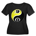 8 Ball 9 Ball Yin Yang Women's Plus Size Scoop Nec