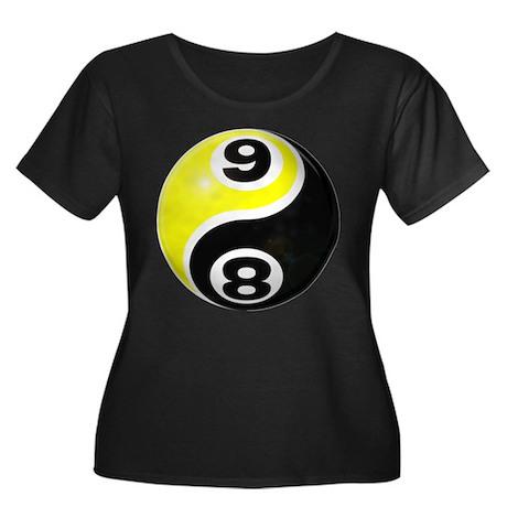 8 Ball 9 Ball Yin Yang Women's Plus Size Scoop Nec
