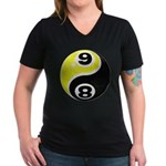 8 Ball 9 Ball Yin Yang Women's V-Neck Dark T-Shirt