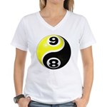 8 Ball 9 Ball Yin Yang Women's V-Neck T-Shirt