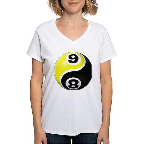 8 Ball 9 Ball Yin Yang Women's V-Neck T-Shirt