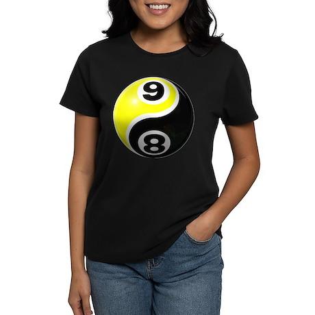 8 Ball 9 Ball Yin Yang Women's Dark T-Shirt