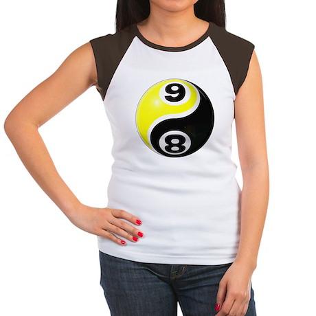 8 Ball 9 Ball Yin Yang Women's Cap Sleeve T-Shirt