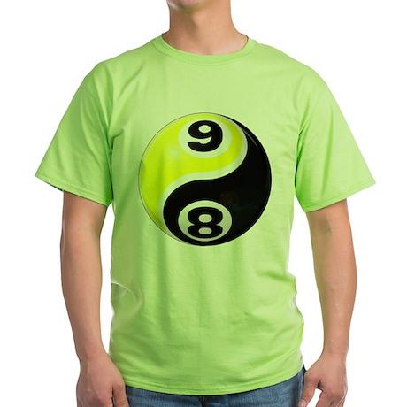 8 Ball 9 Ball Yin Yang Green T-Shirt